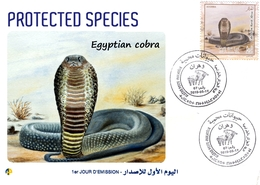 DZ Algeria 2019 FDC Protected Species Snakes Cobra From North Africa Egyptian Cobra Reptiles Wildlife Animals - Snakes