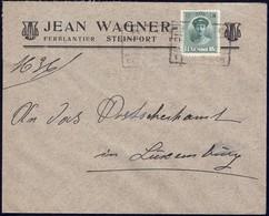 Lettre: Jean Wagner Ferblantier Steinfort, Cachet Ambulant  Pétange-Ettelbruck 20.2.1924, Michel: 128 - Luxembourg