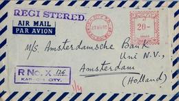 1960 PAKISTÁN , SOBRE CERTIFICADO , CORREO AÉREO , KARACHI - AMSTERDAM , FRANQUEO MECÁNICO - Pakistán