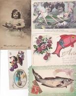 Lot De 10 Cartes ; Poisson D'Avril -voir Scannes Recto / Verso .(dont Une Avec Ajout )(avec Paillettes) - 1er Avril - Poisson D'avril
