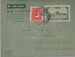 1951 PAKISTÁN , AEROGRAMA CIRCULADO , KARACHI - BERLIN , KARACHI AIRPORT - Pakistán