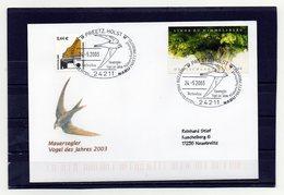 BRD, 2003, Brief (echt Gelaufen) Mit Michel 2217 Und 2298 Und Sonderstempel, Mauersegler/Vogel Des Jahres - [7] Federal Republic