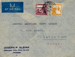 1946 PALESTINA / PALESTINE , SOBRE CIRCULADO , JERUSALEM - PARIS, CORREO AÉREO - Palestina