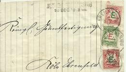 1908  3 Dienstmarken Auf Briefvorderseite Von Freilassing Nach Köln Ehrenfeld - Bayern (Baviera)
