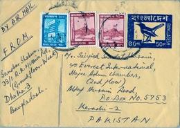 BANGLADESH , SOBRE ENTERO POSTAL CON FRANQUEO COMPLEMENTARIO , DACCA - KARACHI - Bangladesh