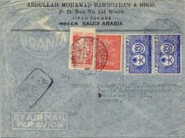 1950 , ARABIA SAUDITA / SAUDI ARABIA , SOBRE CIRCULADO , MECCA - DRESDEN , TRÁNSITO DJEDDA - Arabia Saudita