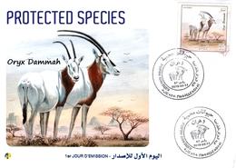 DZ Algeria 2019 FDC Protected Species Animals Wildlife Mammals Oryx Dammah - Stamps