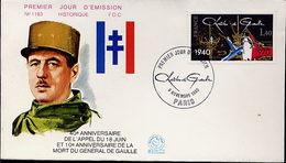 FDC 10ème Anniv Mort De De Gaulle - De Gaulle (Général)
