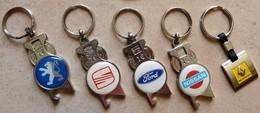 Lots De 5 Porte-clefs Voiture Seat Renault Nissan Ford Peugeot  Décapsuleur - Key-rings