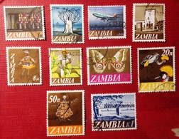 Zambia,1968- Definitive. Lot Of Ten Stamps . Used NH - Zambia (1965-...)