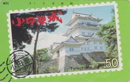 Télécarte Japon / 110-29967 - PAGODE TEMPLE Sur TIMBRE - CASTLE On  STAMP Japan Phonecard - 76 - Stamps & Coins