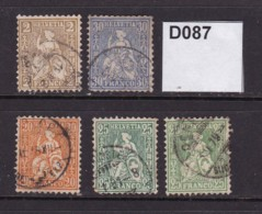 Switzerland 1862 Helvetia 5 Values To 25c - Oblitérés