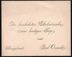 C6075 - Paul Oswald Königsbrück - Glückwunschkarte Visitenkarte - Visiting Cards