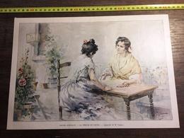 ENV 1900 SCENES D ESPAGNE LA TIREUSE DE CARTES AQUARELLE DE M VERGER - Old Paper
