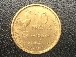 1954 B Franc Francais 10 Francs, Scarce Date - EF Very Fine - K. 10 Francs