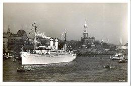 "BARCOS / SHIPS , TARJETA POSTAL NO CIRCULADA ,  AUSREISE IN HAMBURG , DAMPFER "" OCEANA "" - Schiffe"