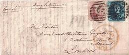 BELGIQUE - LETTRE POUR L'ANGLETERRE - AFFRANCHISSEMENT A 40+20 - CACHET 24 - PD + CACHET ANGLAIS21 JUILLET 1856. - Postmark Collection