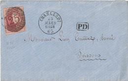 BELGIQUE - LETTRE POUR LA FRANCE - AFFRANCHISSEMENT A 40 - CACHET 25 - CHARLEROI - PD - 22 MARS 1863. - Postmark Collection