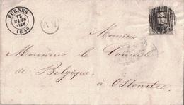 BELGIQUE - LETTRE DE FURNES POUR OSTENDE - LE 12 MARS 1858 . - Postmark Collection