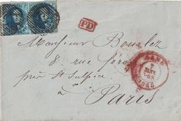 BELGIQUE - LETTRE DE GAND POUR PARIS - AFFRANCHISSEMENT AVEC 2x 20 BLEU - LE 7 JANVIER 1857. - Postmark Collection