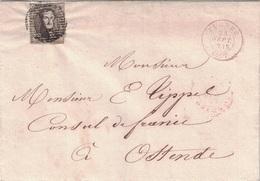 BELGIQUE - LETTRE DE FURNES POUR OSTENDE - LE 25 SEPTEMBRE 1857 EN ROUGE. - Postmark Collection