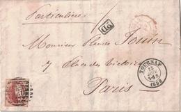 BELGIQUE - LETTRE POUR LA FRANCE - AFFRANCHISSEMENT A 40 - TOURNAY - LE 13 JUIN 1858 - ENTREE AMBULANT BELG. LILLE - PD - Postmark Collection