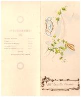 Menu DINER DU 25 AVRIL 1903-GRAND HOTEL DES PALMIERS HYERES VAR + PROGRAMME DE LA SOIREE ORCHESTRE VITETTA-EN DECOUPIS - Menus