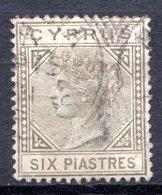 Ile De CHYPRE - (Colonie Britannique) - 1882-86 - N° 21 - 6 Pi. Gris-brun (Pl. 1) - (Victoria) - Cyprus (...-1960)
