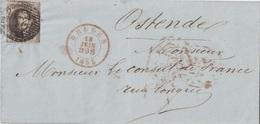 BELGIQUE - LETTRE DE BRUGES POUR OSTENDE - LE 18 JUIN 1855 EN ROUGE - LETTRE POUR LE CONSUL DE FRANCE. - Postmark Collection