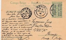"Entier Postal Congo Belge 5  Surchargé ""est Africain Allemand Occupation Belge"" ,cachet  ??goma + Kasongo 23-6-1918 - Ruanda-Urundi"