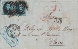 BELGIQUE - LETTRE DE BRUXELLES POUR PARIS - LE 17 AVRIL 1861 - AFFRANCHISSEMENT 20x2 BLEU - ENTREE BELG. VALENCIENNES. - Postmark Collection