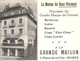 RODEZ A La Grande Maison 1 Place De La Cité   1922 - Old Paper