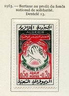 Algérie - Algerien - Algeria 1963 Y&T N°378 - Michel N°403 * - 50c+20c Fonds National De Solidarité - Algeria (1962-...)