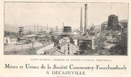 DECAZEVILLE Sté Commentry-Fourchambault Puits Central Criblage  Et Station Centrale électrique  1922 - Old Paper