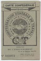 Carte Confédérale CGT, 1946, Fédération De L'enseignement,syndicat Des Instituteurs Publics,Algérie, Timbre Congrès - Historical Documents