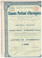Titre Ancien - Société Anonyme Des Ciments Portland D'Harmignies -Titre De 1899 - - Industry