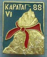 USSR / Badge / Soviet Union / Tajikistan Alpinism Mountaineering Tourism Pioneers. Mountain Karatag 1988 - Alpinism, Mountaineering