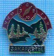 USSR Badge Soviet Union UKRAINE Alpinism Tourism Mountaineering Section. Transcarpathian. Compass. Forest. - Alpinismus, Bergsteigen