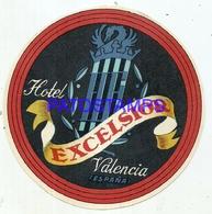 114037 SPAIN ESPAÑA VALENCIA PUBLICITY HOTEL EXCELSIOR LUGGAGE NO  POSTCARD - Hotel Labels