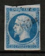 FRANCE  Scott # 15 VF USED (Stamp Scan # 514) - 1853-1860 Napoleon III