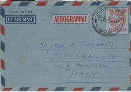 AUSTRALIA-AEROGRAMME- STAMPING SINGLETON, FOR ITALY, 1955, - Aerogrammi