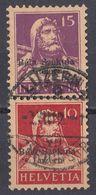 "HELVETIA - SUISSE - SVIZZERA - 1914 - Due Valori Usati ""se Tenant"" Con Sovrastampa Bela Szekula Luzern - Svizzera"