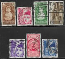 Italy Scott # 367-73 Part Set Used Child Welfare, 1937, CV$44.25 - 1900-44 Vittorio Emanuele III
