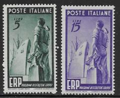Italy Scott # 515-6 MNH ERP Workmen, 1949, CV$37.00 - 1946-60: Mint/hinged