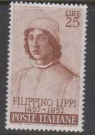 Italy Republic S 820 1957 Filippino Lippi,mint Never  Hinged - 1946-60: Mint/hinged