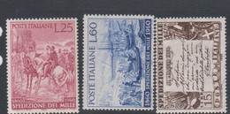 Italy Republic S 882-884 1960 Centenary Liberation Of Sicily,mint Never  Hinged - 1946-60: Mint/hinged
