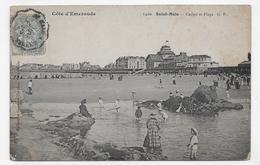 (RECTO / VERSO) SAINT MALO - N° 1420 - CASINO ET PLAGE - CACHET AMBULANT TRI FERROVIAIRE - CPA - Saint Malo