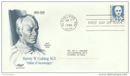 USS30014 USA 1988 Harvey Cushing MD - Father Of Neurosurgey - FDC - Cleveland Cancel - 1981-1990