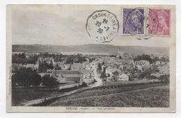 (RECTO / VERSO) ESSOYES EN 1939 - VUE GENERALE - BEAUX TIMBRES - CACHET AMBULANT TRI FERROVIAIRE - CPA - Essoyes