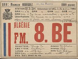 X120853 CARTE QSL RADIO AMATEUR 8. BE ? FM. 8. BE ? ALGERIE FRANCAISE ORAN EN 1936 DEUX SCANS - Radio Amateur